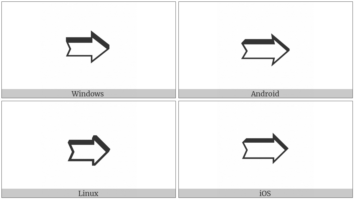 Notched Upper Right-Shadowed White Rightwards Arrow on various operating systems