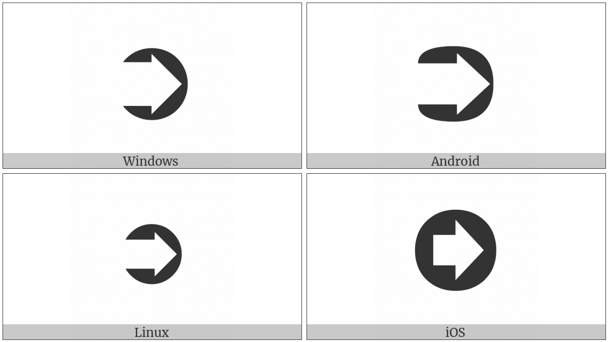 Circled Heavy White Rightwards Arrow on various operating systems