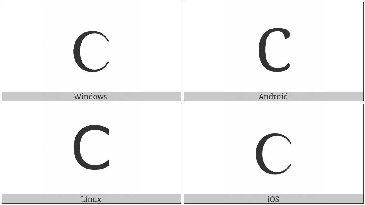 Greek Capital Lunate Sigma Symbol on various operating systems