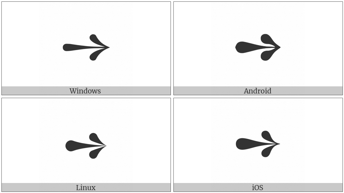 Teardrop-Barbed Rightwards Arrow on various operating systems