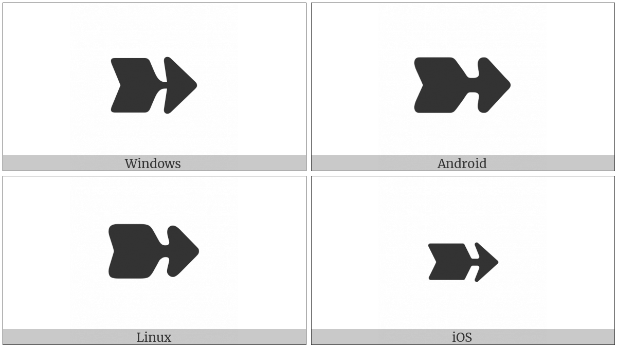 Heavy Wedge-Tailed Rightwards Arrow on various operating systems