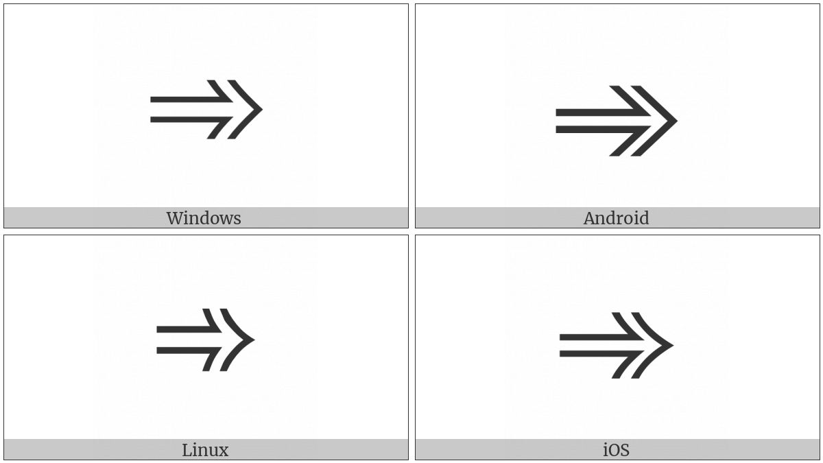 Open-Outlined Rightwards Arrow on various operating systems