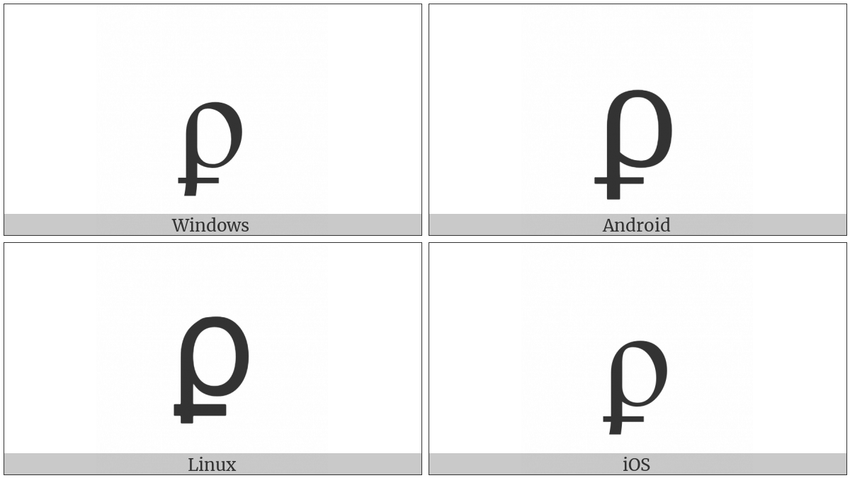 Greek Rho With Stroke Symbol on various operating systems