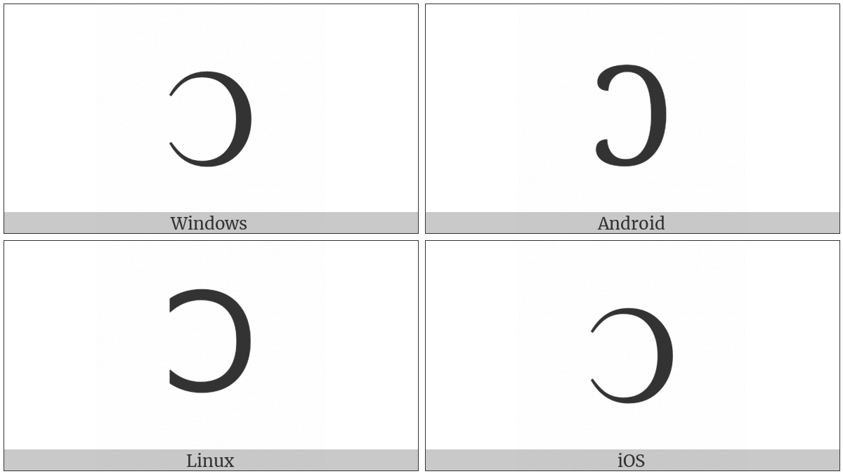 Greek Capital Reversed Lunate Sigma Symbol on various operating systems