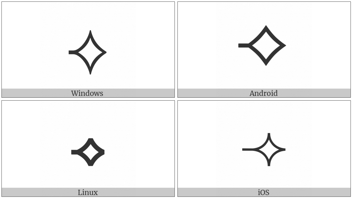 White Concave-Sided Diamond With Leftwards Tick on various operating systems