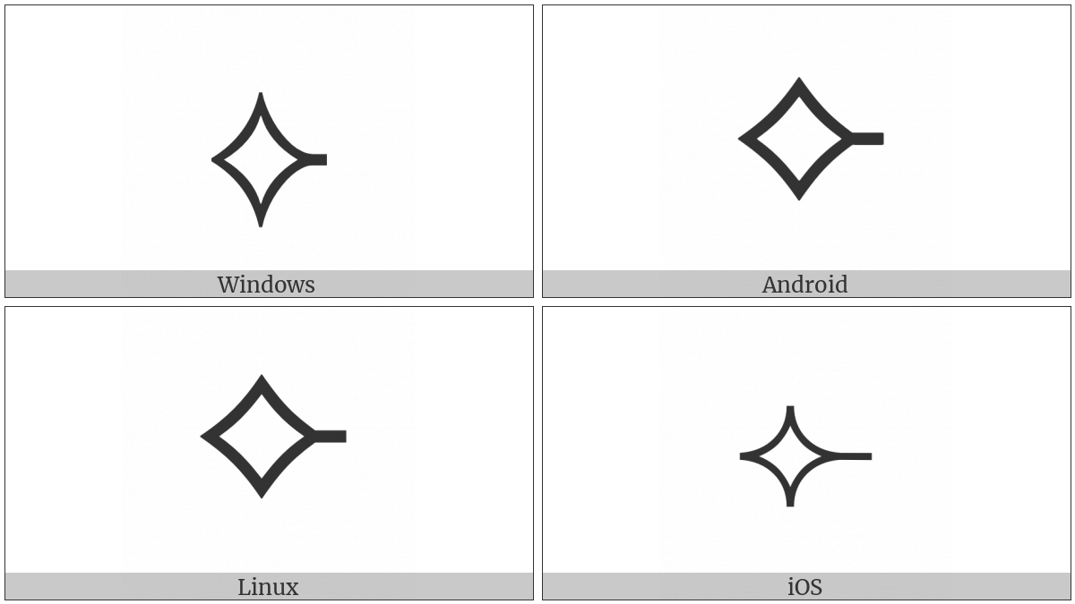 White Concave-Sided Diamond With Rightwards Tick on various operating systems