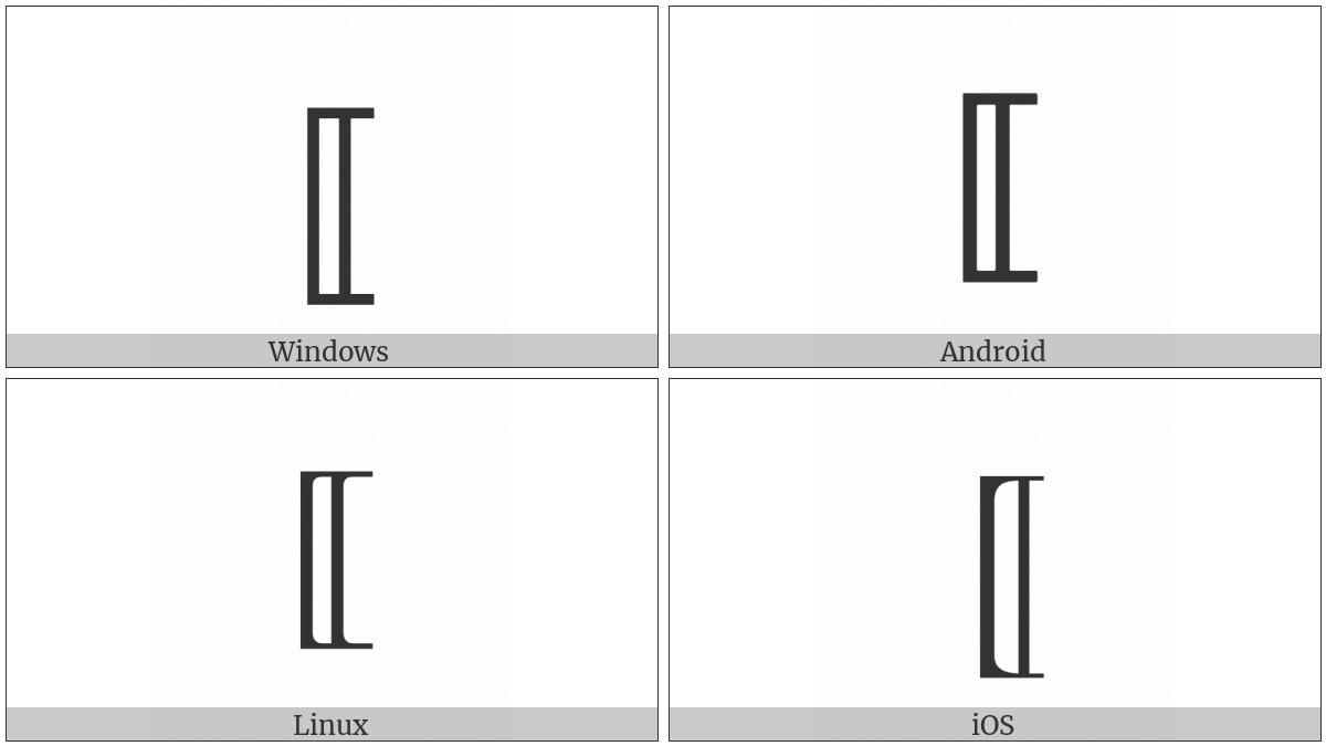 Mathematical Left White Square Bracket on various operating systems