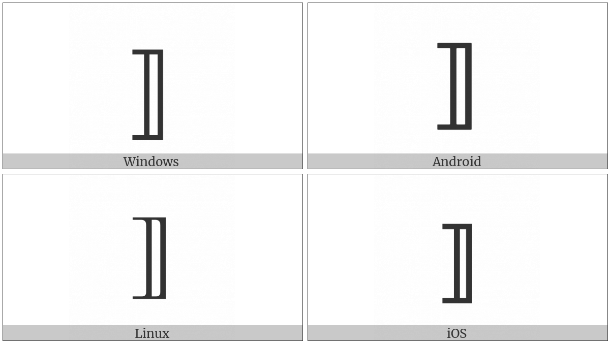 Mathematical Right White Square Bracket on various operating systems