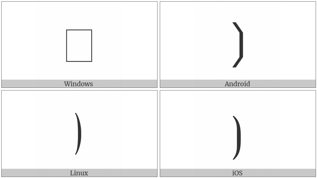 Mathematical Right Flattened Parenthesis on various operating systems