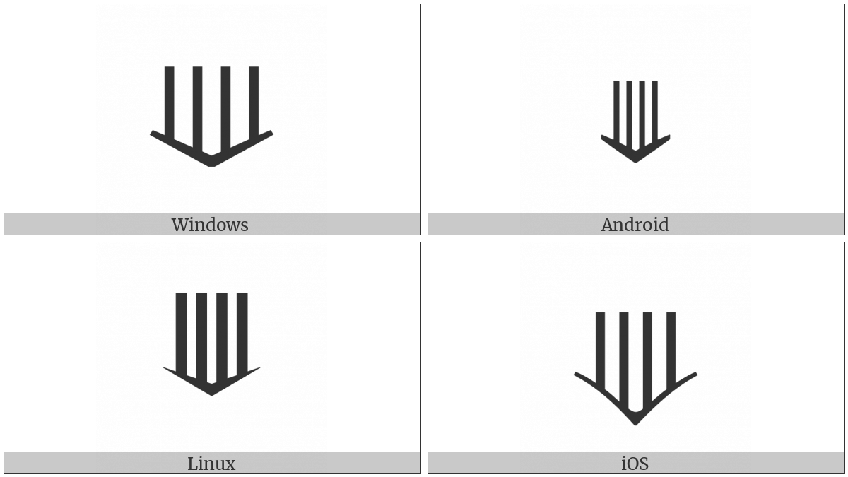 Downwards Quadruple Arrow on various operating systems
