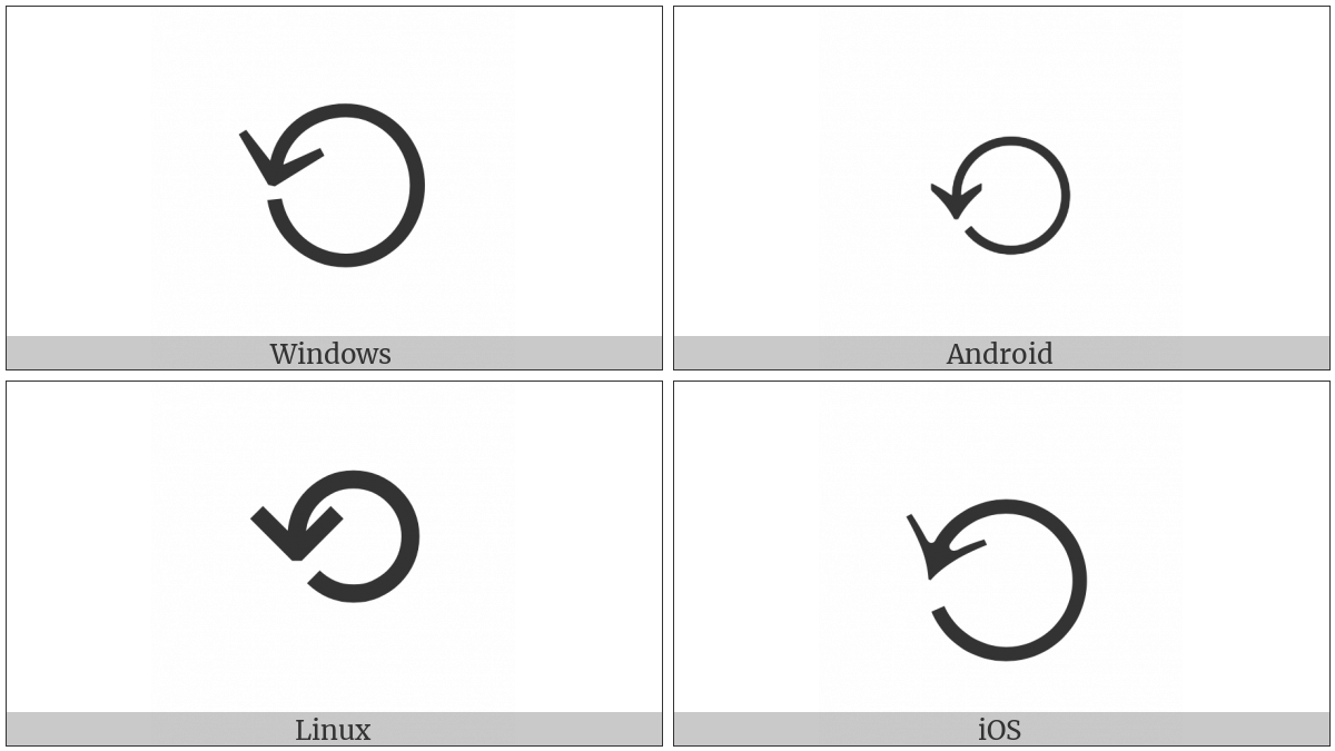 Anticlockwise Gapped Circle Arrow on various operating systems