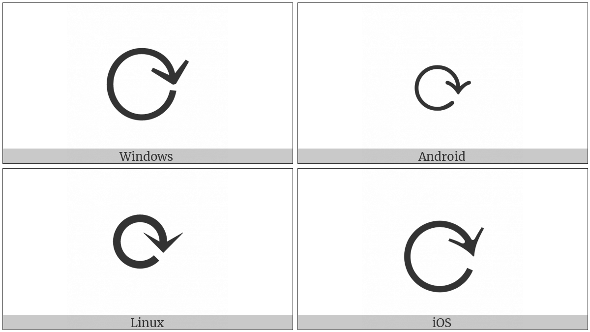 Clockwise Gapped Circle Arrow on various operating systems