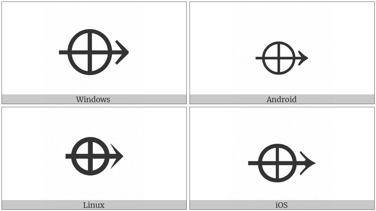 Right Arrow With Circled Plus on various operating systems