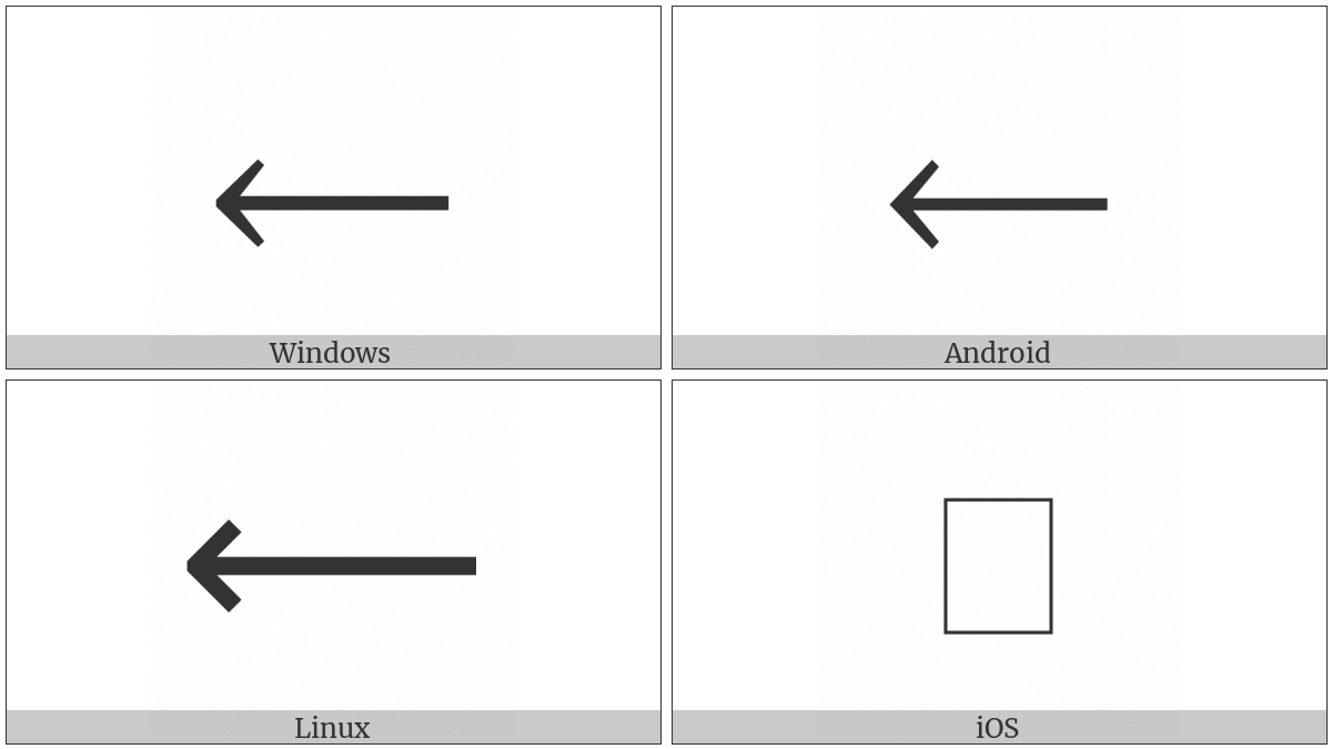 Long Leftwards Arrow on various operating systems