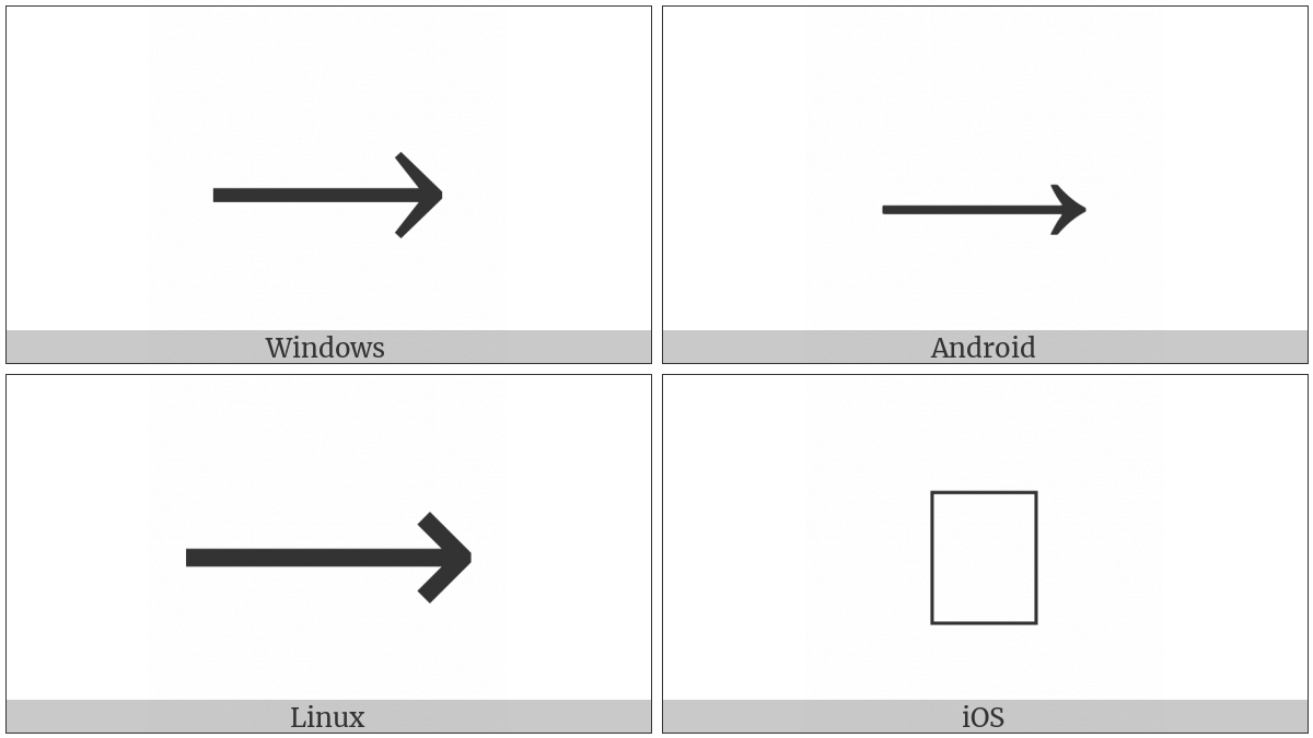 Long Rightwards Arrow on various operating systems