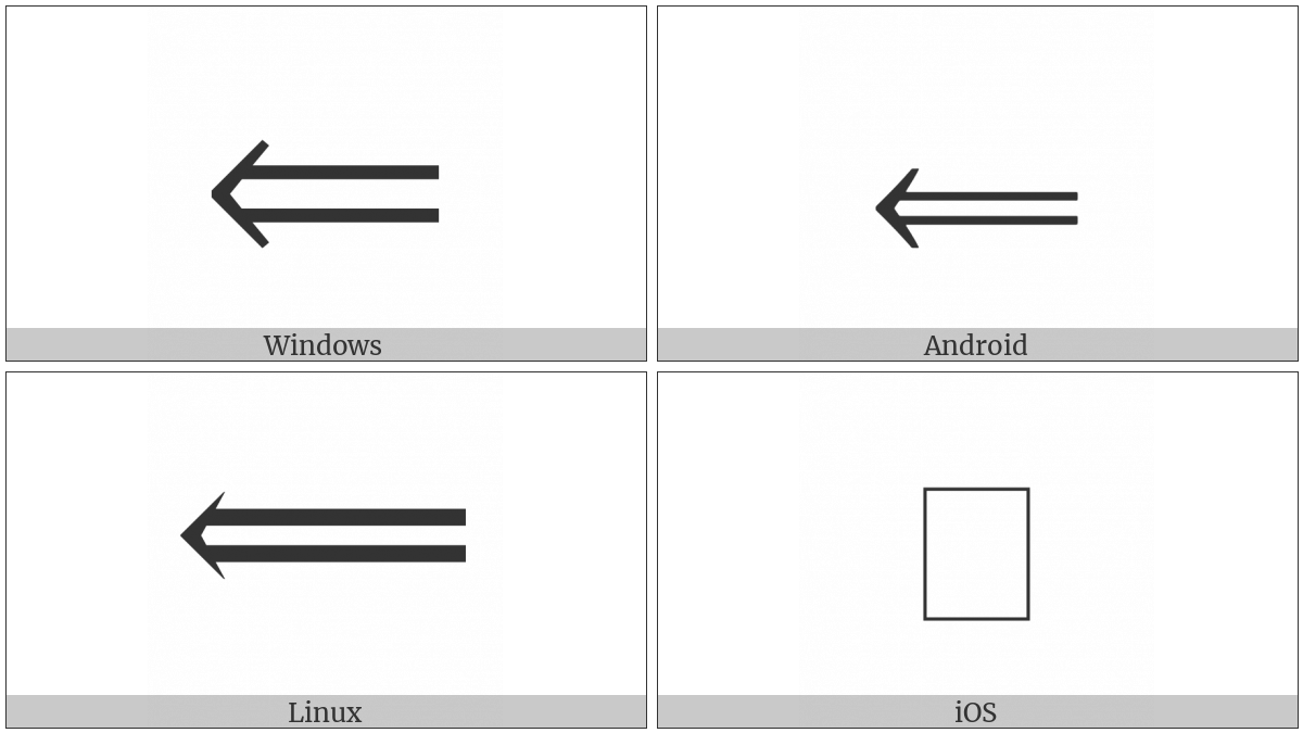 Long Leftwards Double Arrow on various operating systems