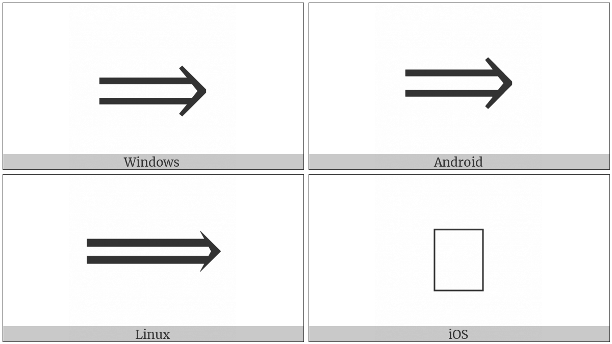 Long Rightwards Double Arrow on various operating systems