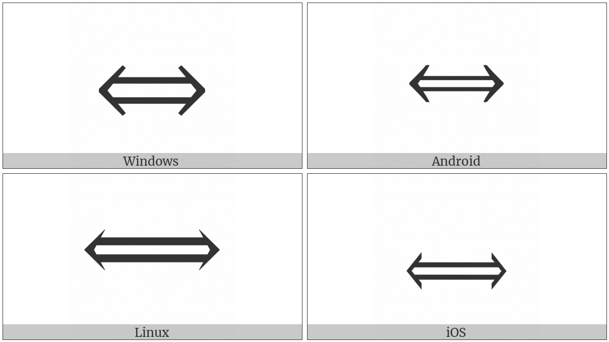 Long Left Right Double Arrow on various operating systems