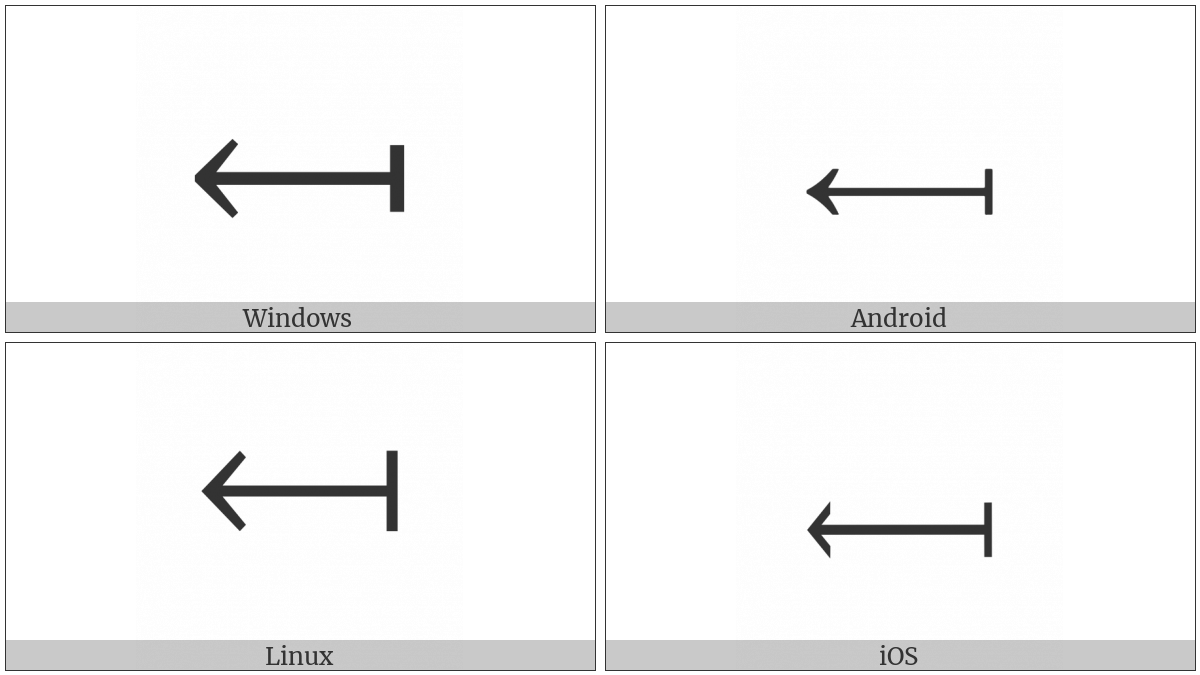 Long Leftwards Arrow From Bar on various operating systems