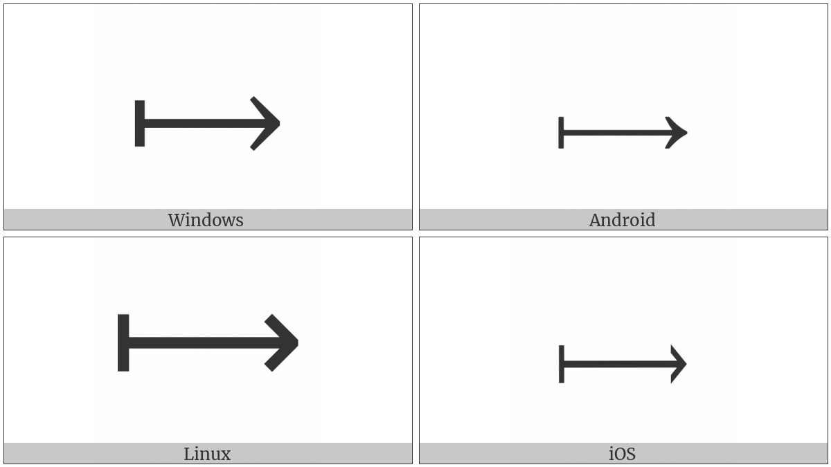 Long Rightwards Arrow From Bar on various operating systems