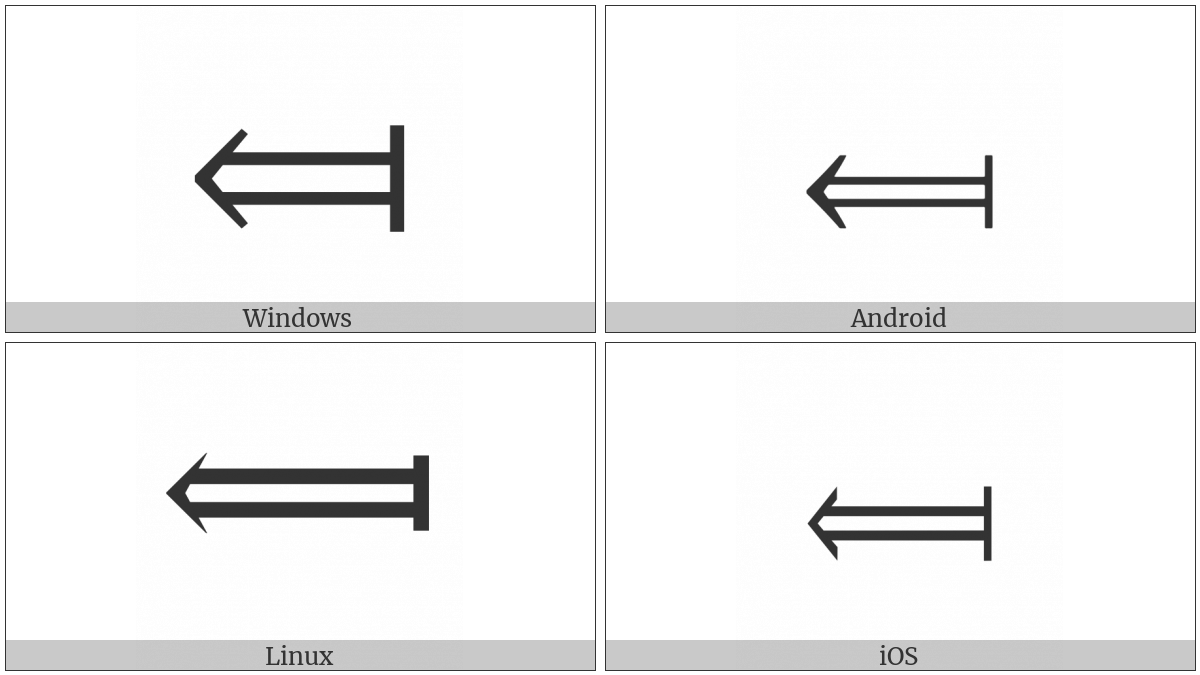 Long Leftwards Double Arrow From Bar on various operating systems