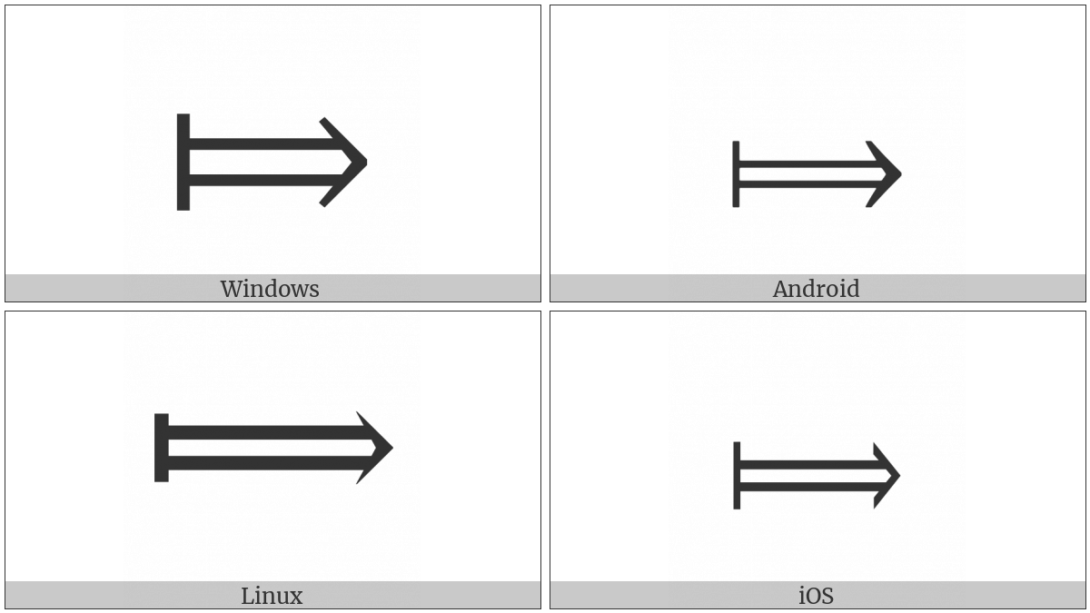Long Rightwards Double Arrow From Bar on various operating systems