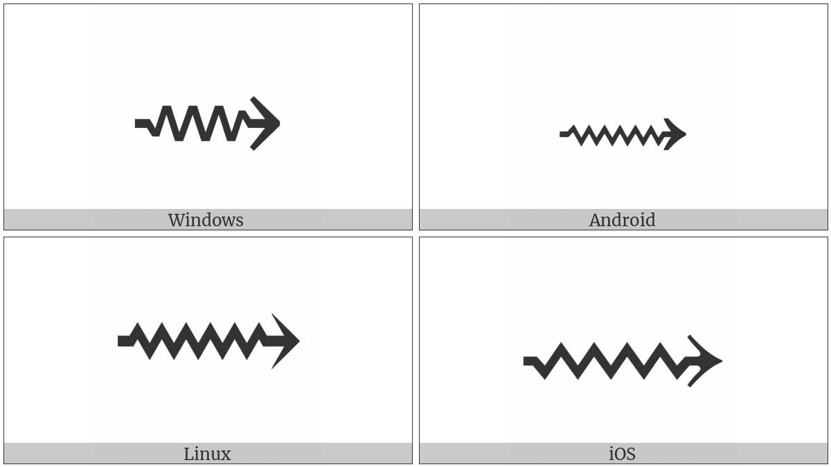 Long Rightwards Squiggle Arrow on various operating systems