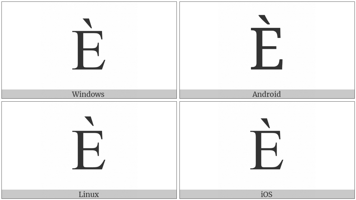 Cyrillic Capital Letter Ie With Grave on various operating systems