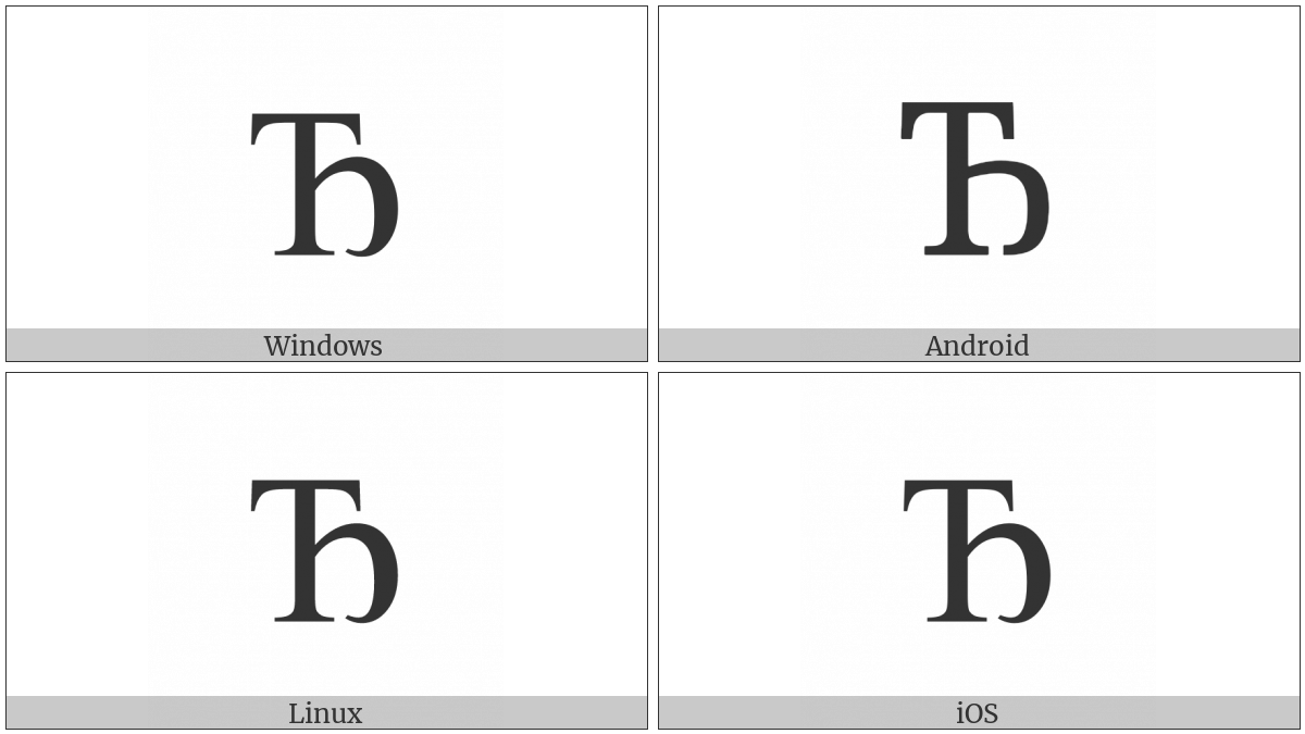 Cyrillic Capital Letter Dje on various operating systems