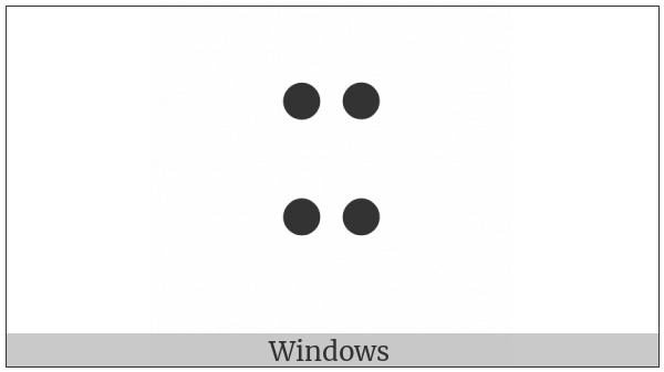 Braille Pattern Dots-1346 on various operating systems