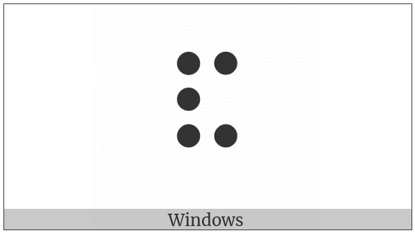 Braille Pattern Dots-12346 on various operating systems