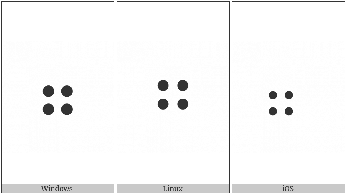 Braille Pattern Dots-2356 on various operating systems