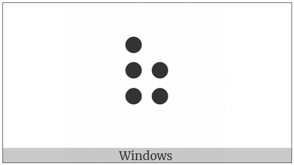 Braille Pattern Dots-12356 on various operating systems