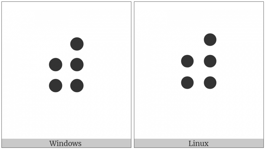 Braille Pattern Dots-23456 on various operating systems