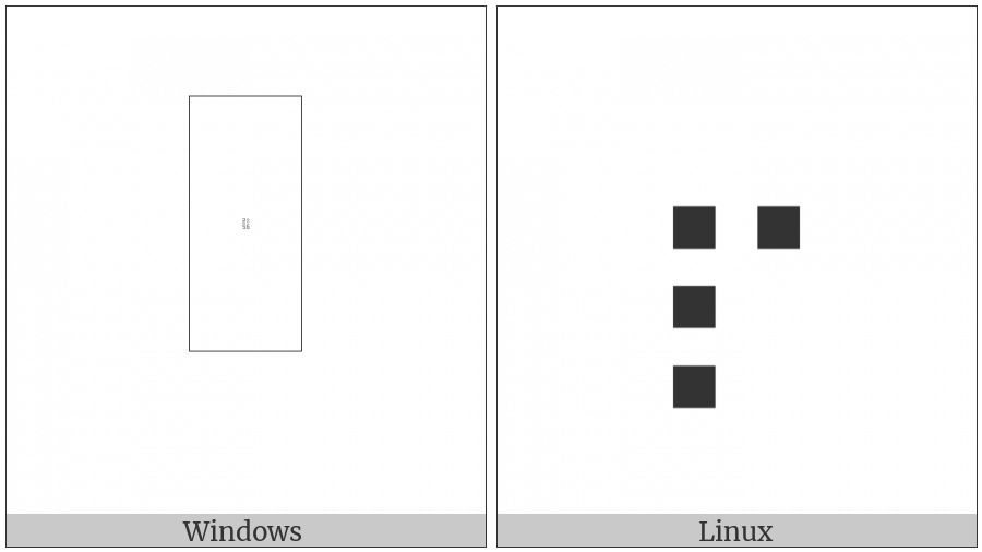 Braille Pattern Dots-2357 on various operating systems