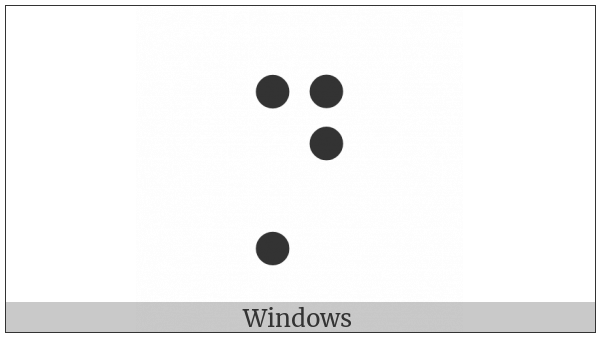 Braille Pattern Dots-1457 on various operating systems