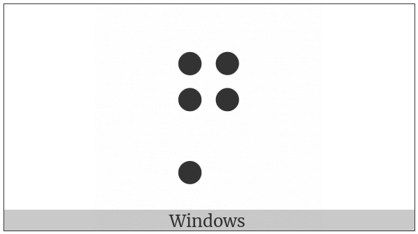 Braille Pattern Dots-12457 on various operating systems