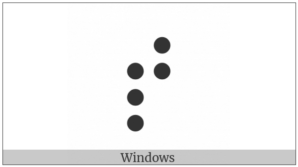 Braille Pattern Dots-23457 on various operating systems