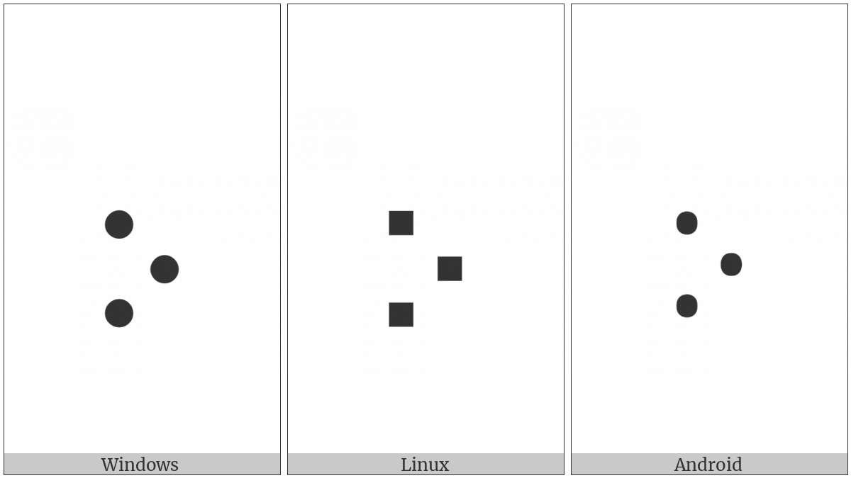 Braille Pattern Dots-267 on various operating systems
