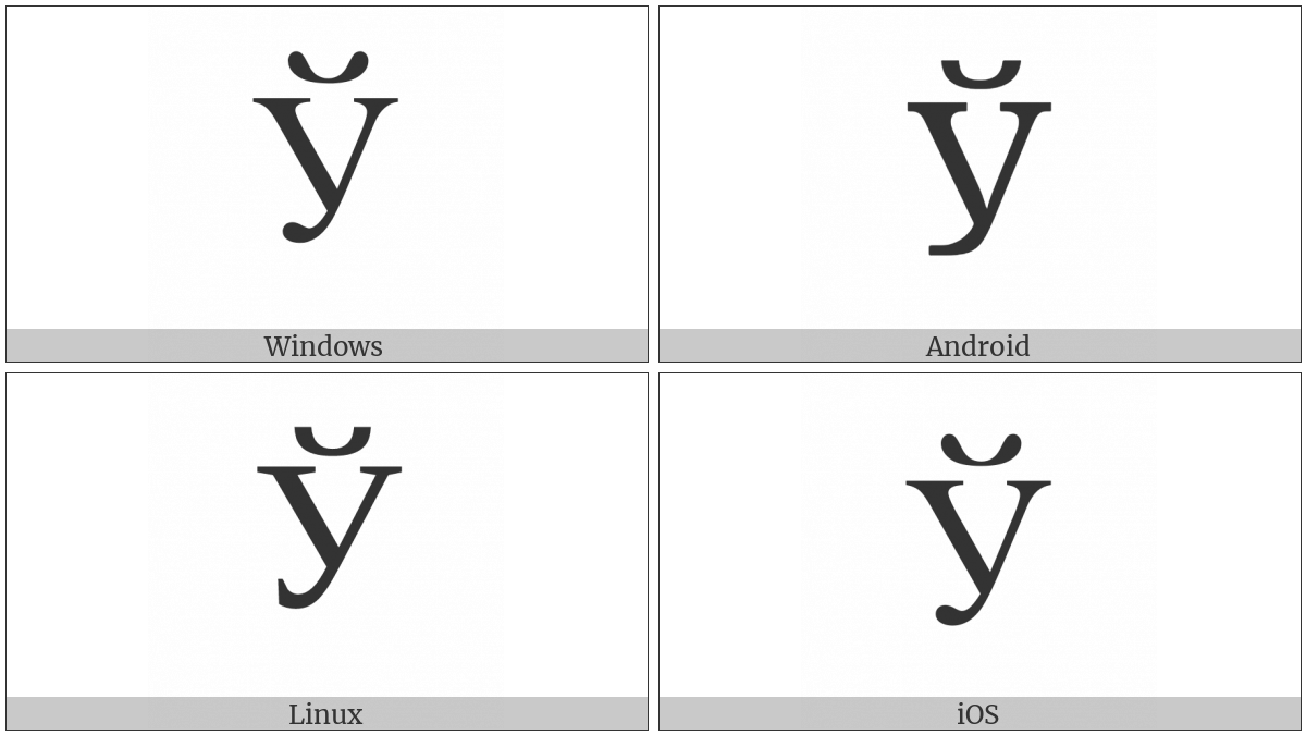 Cyrillic Capital Letter Short U on various operating systems