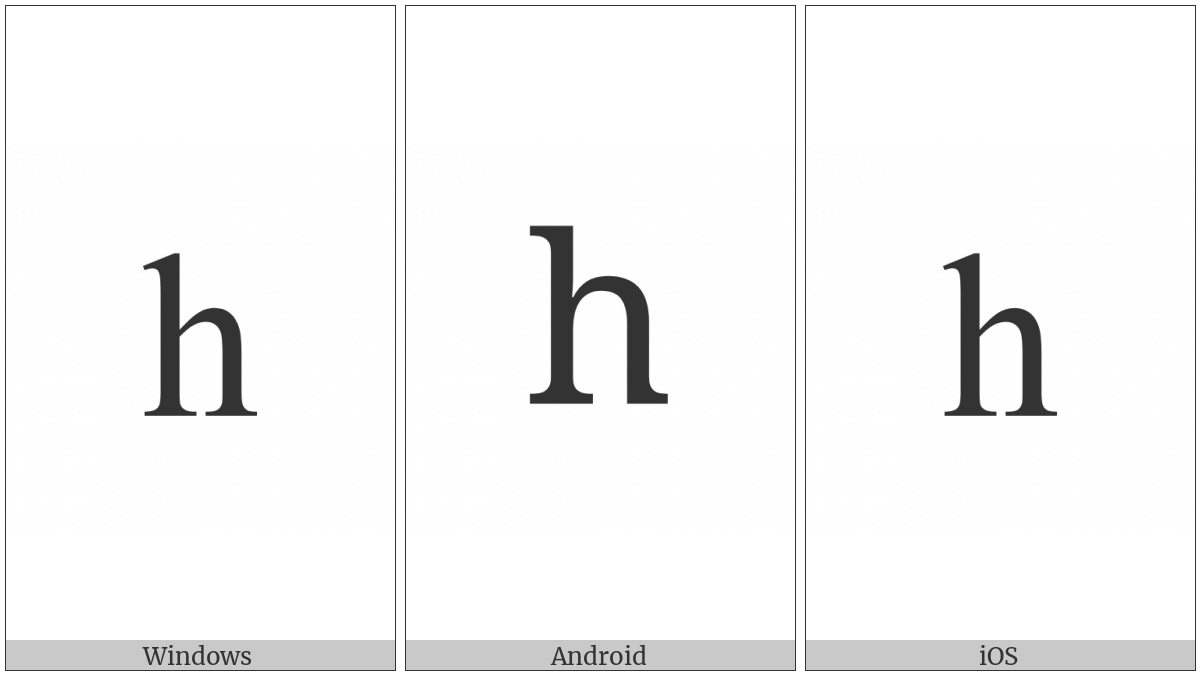 Latin Small Letter H on various operating systems