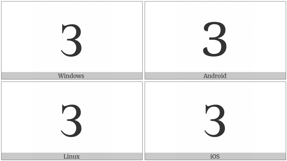 Cyrillic Capital Letter Ze on various operating systems