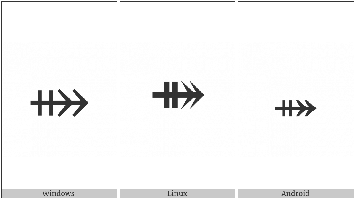 Rightwards Two-Headed Arrow With Double Vertical Stroke on various operating systems