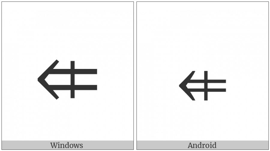 Leftwards Double Arrow With Vertical Stroke on various operating systems