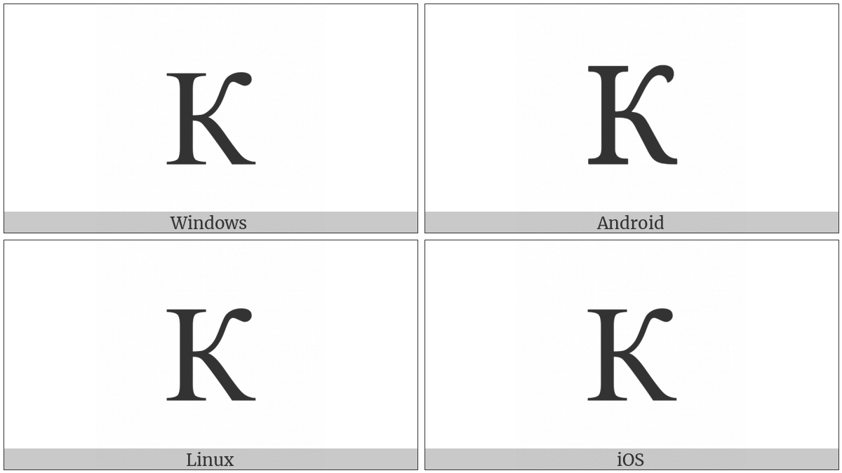 Cyrillic Capital Letter Ka on various operating systems