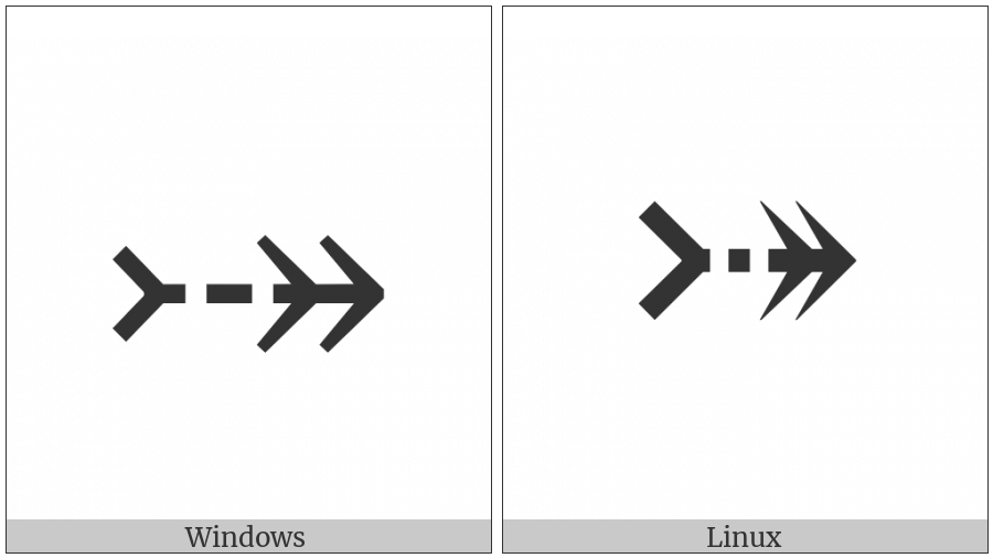 Rightwards Two-Headed Triple Dash Arrow on various operating systems