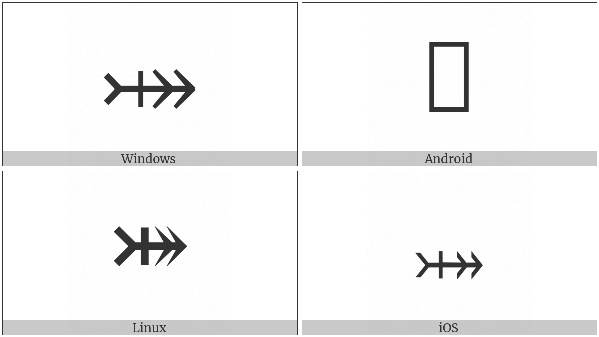 Rightwards Two-Headed Arrow With Tail With Vertical Stroke on various operating systems