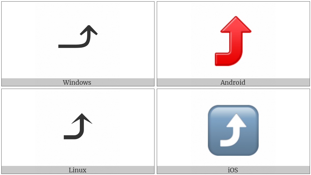 Arrow Pointing Rightwards Then Curving Upwards on various operating systems