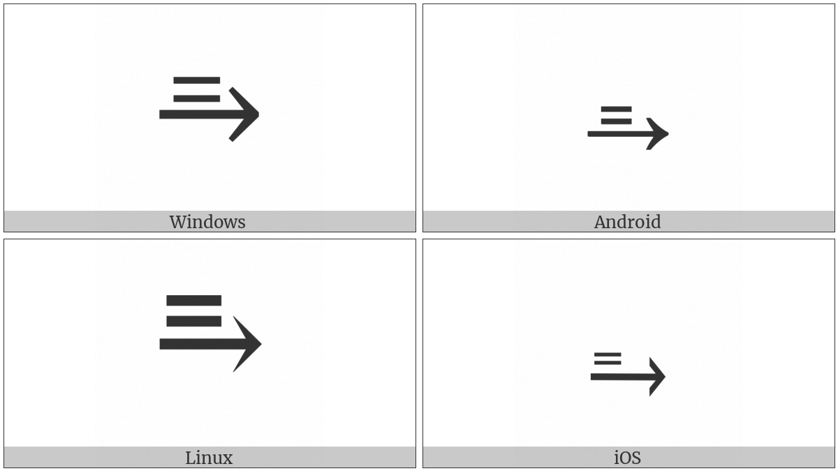 Equals Sign Above Rightwards Arrow on various operating systems