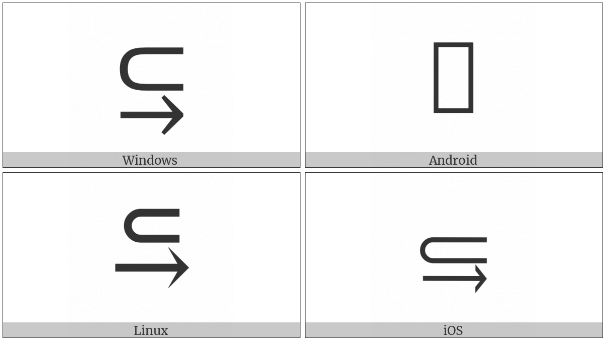 Subset Above Rightwards Arrow on various operating systems